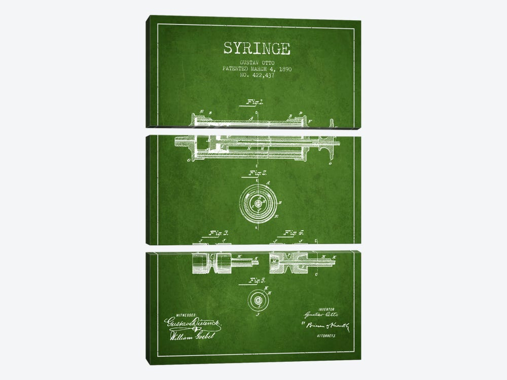 Syringe Green Patent Blueprint by Aged Pixel 3-piece Canvas Art Print