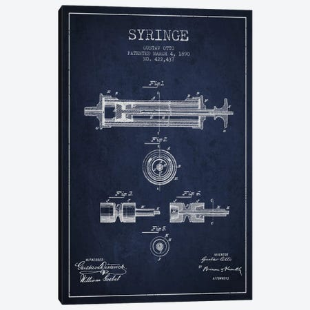 Syringe Navy Blue Patent Blueprint Canvas Print #ADP1756} by Aged Pixel Canvas Print