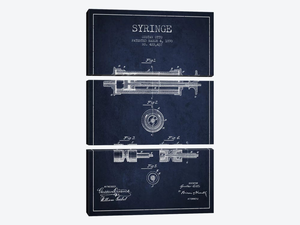 Syringe Navy Blue Patent Blueprint by Aged Pixel 3-piece Canvas Art