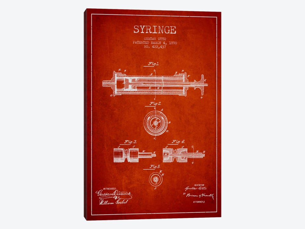 Syringe Red Patent Blueprint by Aged Pixel 1-piece Art Print