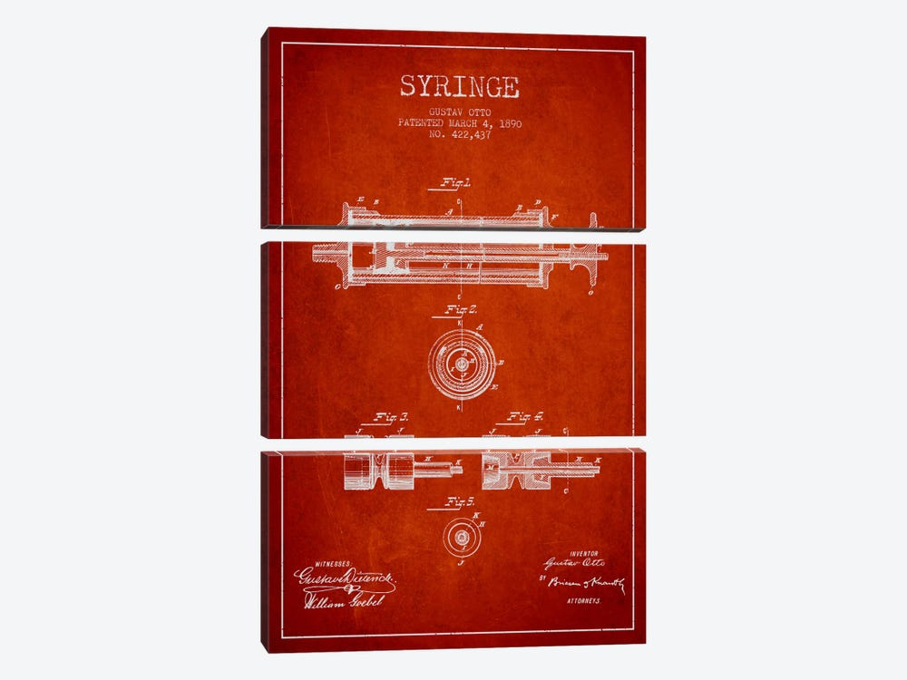 Syringe Red Patent Blueprint by Aged Pixel 3-piece Canvas Print