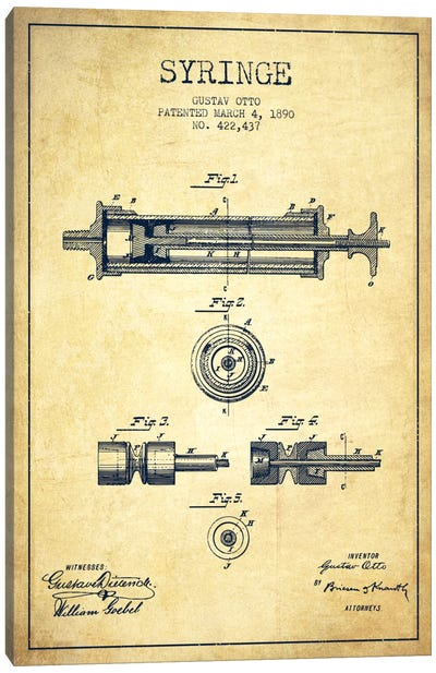 Syringe Vintage Patent Blueprint Canvas Art Print