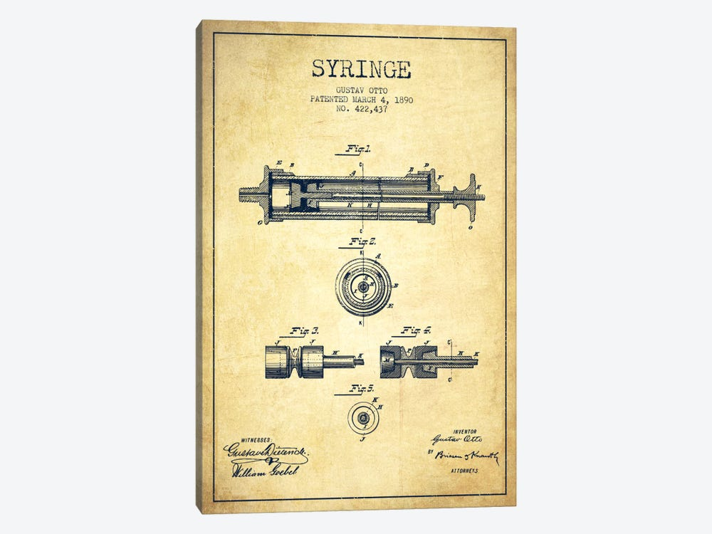 Syringe Vintage Patent Blueprint by Aged Pixel 1-piece Canvas Art