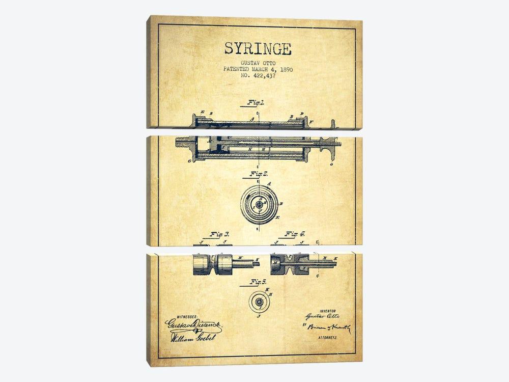 Syringe Vintage Patent Blueprint by Aged Pixel 3-piece Canvas Artwork