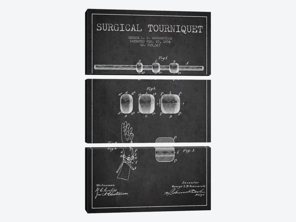 Surgical Tourniquet Charcoal Patent Blueprint by Aged Pixel 3-piece Art Print