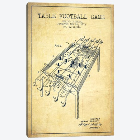 Table Football 2 Vintage Patent Blueprint Canvas Print #ADP175} by Aged Pixel Canvas Wall Art