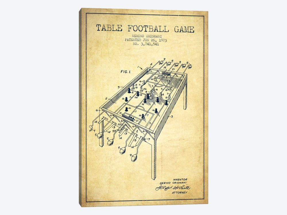 Table Football 2 Vintage Patent Blueprint by Aged Pixel 1-piece Canvas Artwork