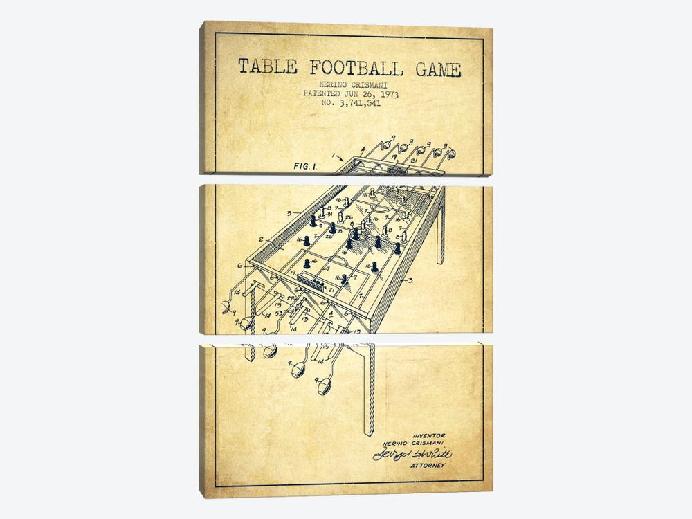 Table Football 2 Vintage Patent Blueprint by Aged Pixel 3-piece Canvas Artwork