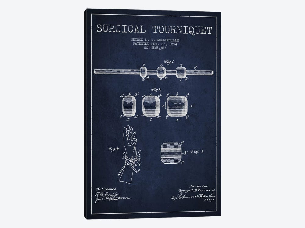 Surgical Tourniquet Navy Blue Patent Blueprint by Aged Pixel 1-piece Canvas Artwork