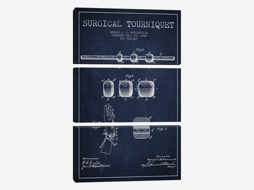 Surgical Tourniquet Navy Blue Patent Blueprint by Aged Pixel 3-piece Canvas Wall Art