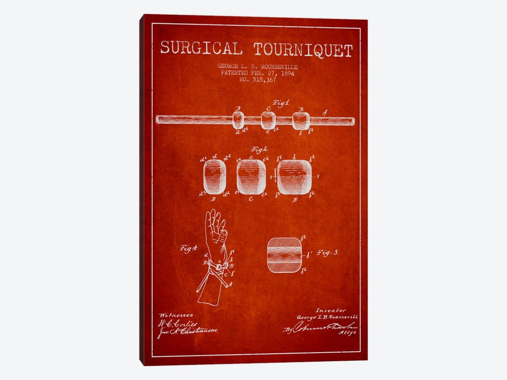 Surgical Tourniquet Red Patent Blueprint by Aged Pixel 1-piece Canvas Print