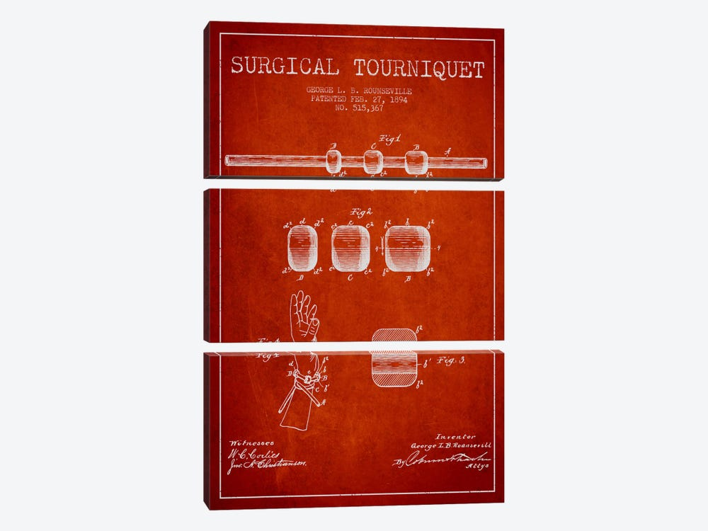 Surgical Tourniquet Red Patent Blueprint by Aged Pixel 3-piece Canvas Print