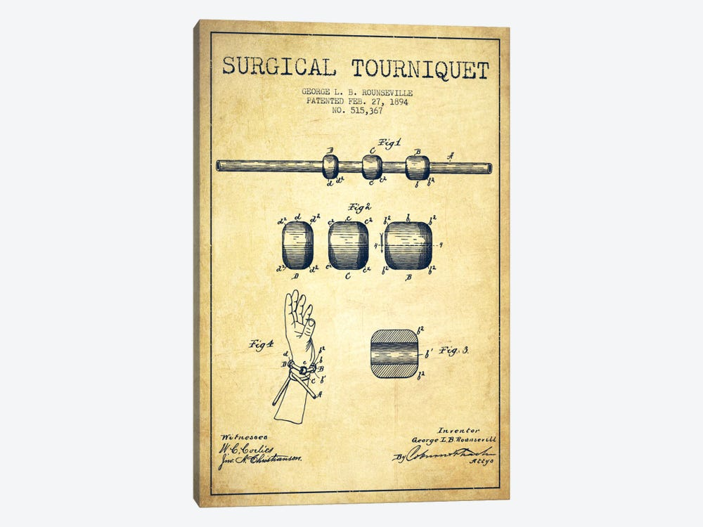 Surgical Tourniquet Vintage Patent Blueprint by Aged Pixel 1-piece Canvas Wall Art