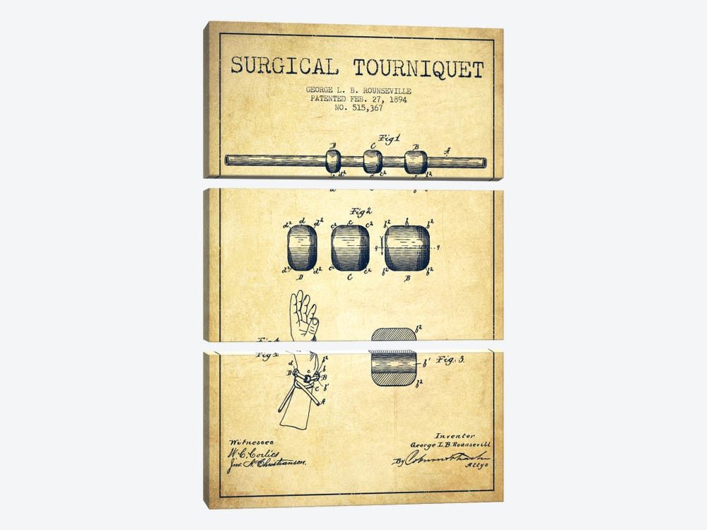 Surgical Tourniquet Vintage Patent Blueprint by Aged Pixel 3-piece Canvas Artwork