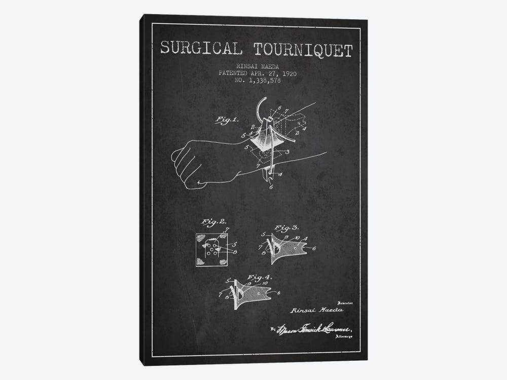 Surgical Tourniquet Charcoal Patent Blueprint by Aged Pixel 1-piece Art Print