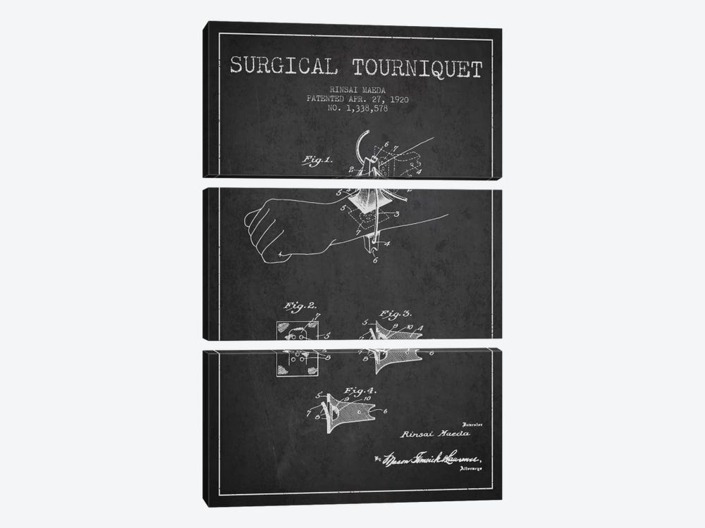 Surgical Tourniquet Charcoal Patent Blueprint by Aged Pixel 3-piece Canvas Print