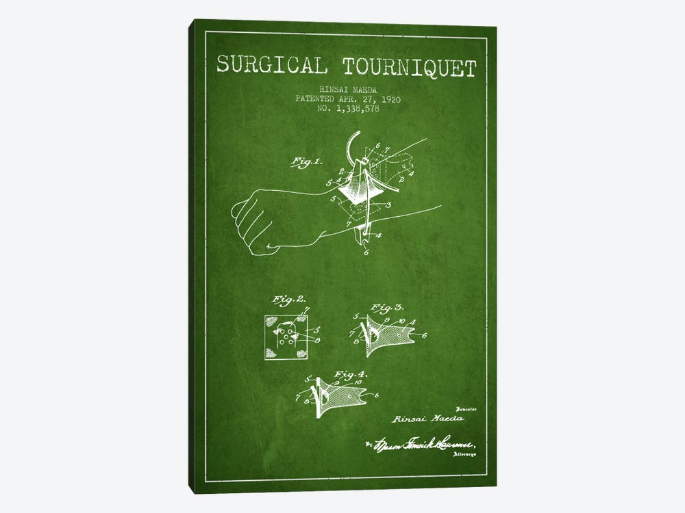 Surgical Tourniquet Green Patent Blueprint by Aged Pixel 1-piece Canvas Wall Art
