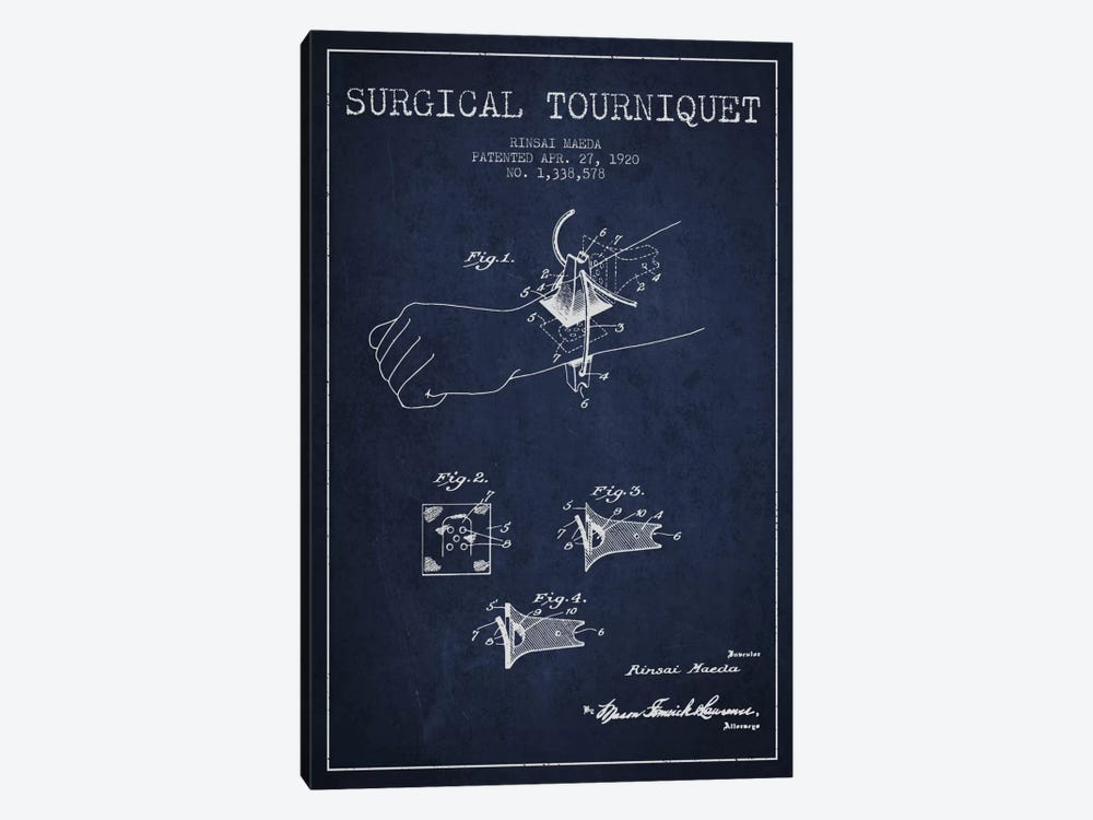 Surgical Tourniquet Navy Blue Patent Blueprint by Aged Pixel 1-piece Canvas Print