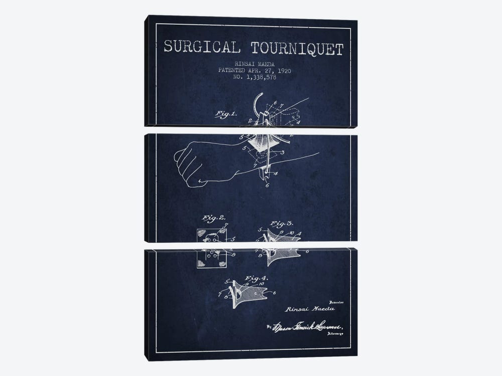 Surgical Tourniquet Navy Blue Patent Blueprint by Aged Pixel 3-piece Canvas Art Print