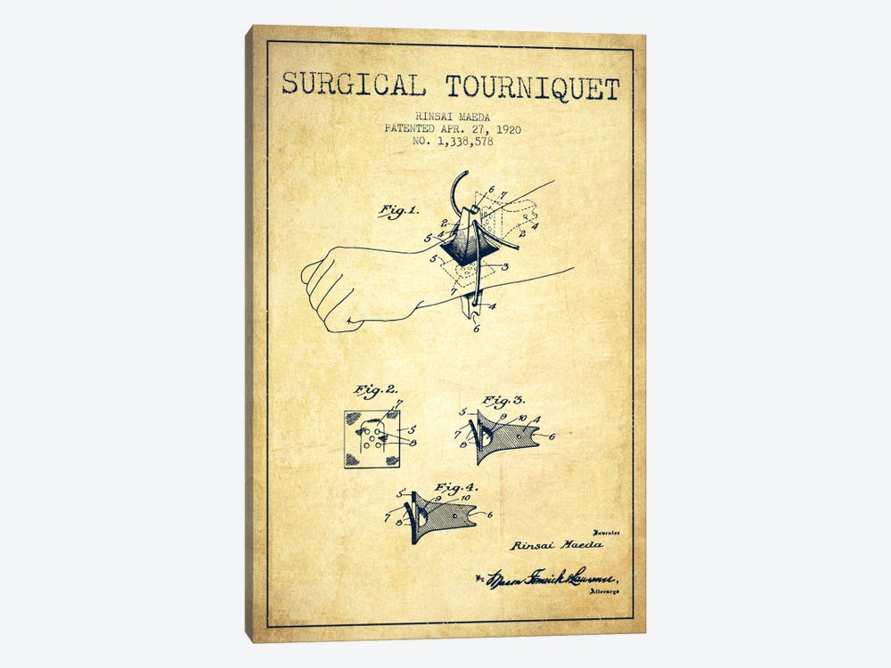 Surgical Tourniquet Vintage Patent Blueprint by Aged Pixel 1-piece Art Print