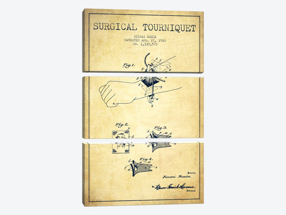 Surgical Tourniquet Vintage Patent Blueprint by Aged Pixel 3-piece Canvas Art Print