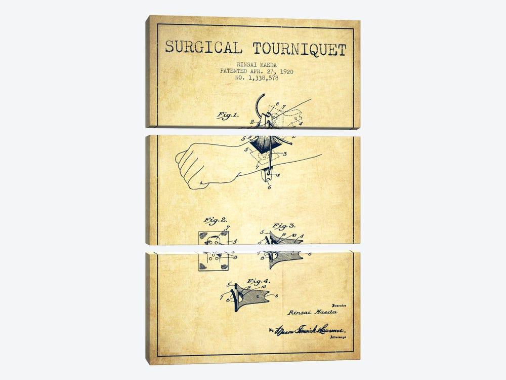 Surgical Tourniquet Vintage Patent Blueprint by Aged Pixel 3-piece Canvas Art Print
