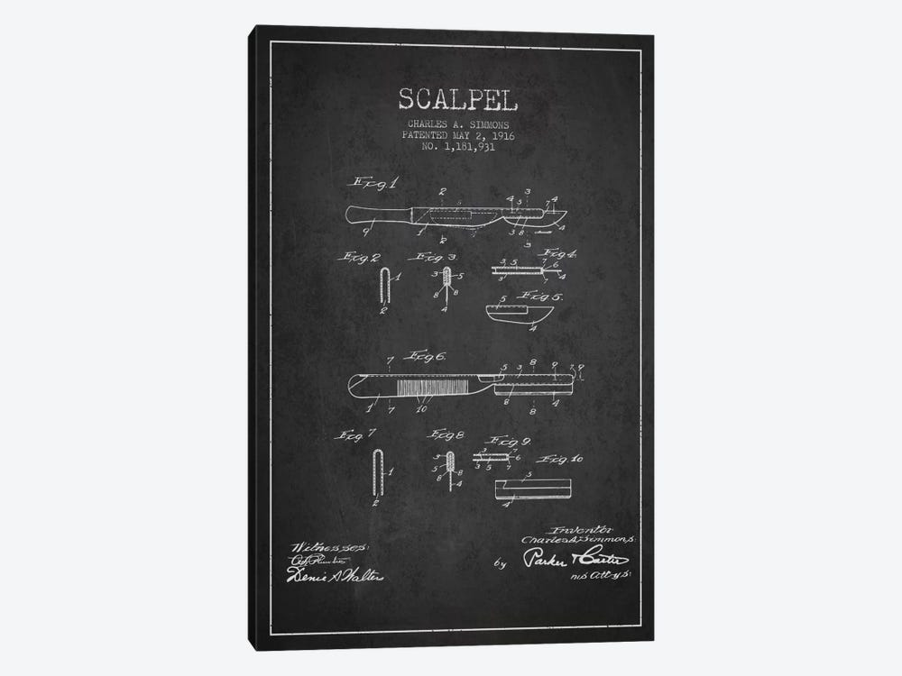 Scalpel Charcoal Patent Blueprint by Aged Pixel 1-piece Canvas Artwork