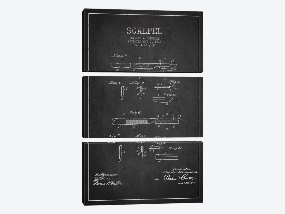 Scalpel Charcoal Patent Blueprint by Aged Pixel 3-piece Canvas Wall Art