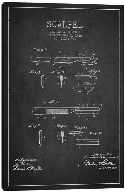 Scalpel Charcoal Patent Blueprint Canvas Art Print