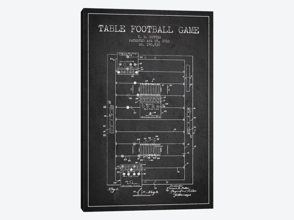 Table Football Charcoal Patent Blueprint by Aged Pixel 1-piece Canvas Print