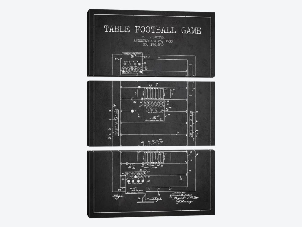 Table Football Charcoal Patent Blueprint by Aged Pixel 3-piece Canvas Art Print
