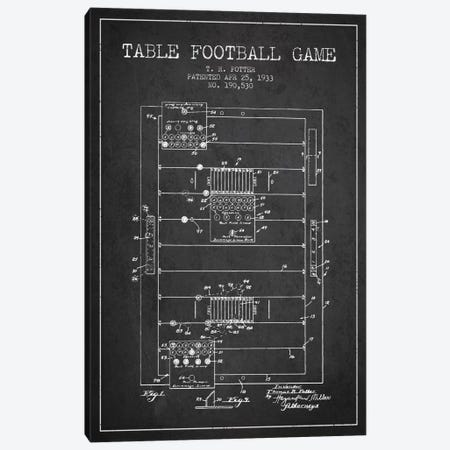 Table Football Charcoal Patent Blueprint Canvas Print #ADP176} by Aged Pixel Canvas Artwork