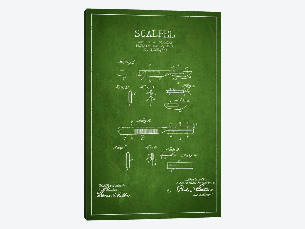 Scalpel Green Patent Blueprint by Aged Pixel 1-piece Canvas Wall Art
