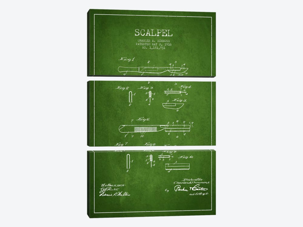 Scalpel Green Patent Blueprint by Aged Pixel 3-piece Canvas Art