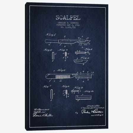 Scalpel Navy Blue Patent Blueprint Canvas Print #ADP1771} by Aged Pixel Canvas Wall Art