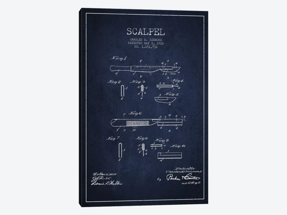 Scalpel Navy Blue Patent Blueprint by Aged Pixel 1-piece Canvas Print
