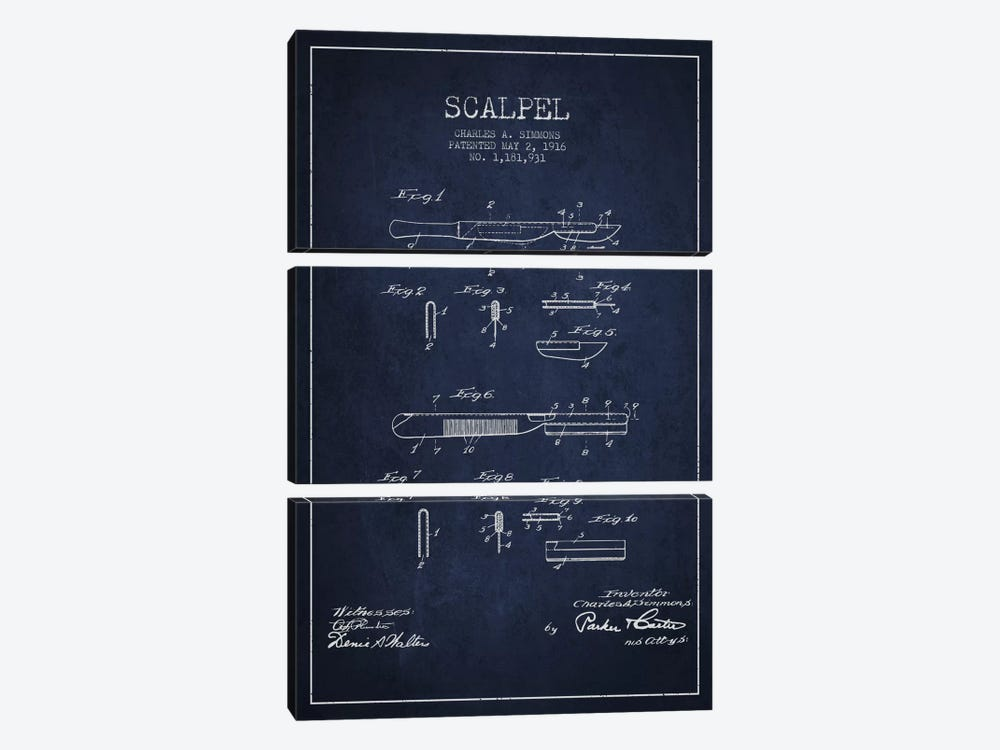Scalpel Navy Blue Patent Blueprint by Aged Pixel 3-piece Canvas Print