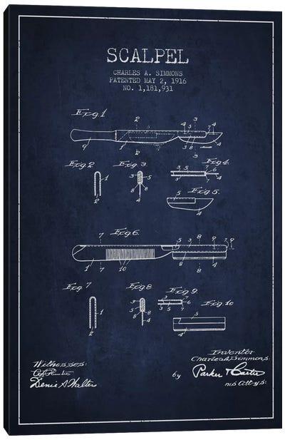 Scalpel Navy Blue Patent Blueprint Canvas Art Print