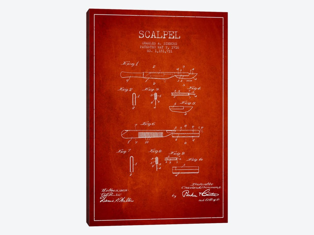 Scalpel Red Patent Blueprint by Aged Pixel 1-piece Canvas Art