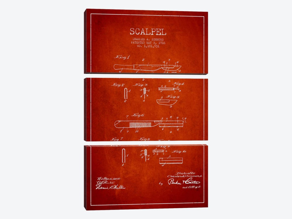 Scalpel Red Patent Blueprint by Aged Pixel 3-piece Canvas Artwork