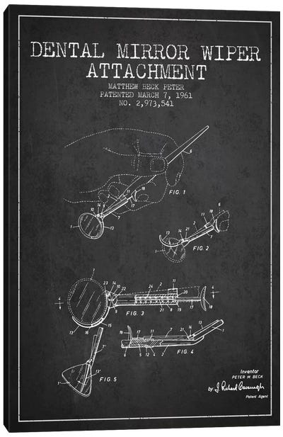 Dental Mirror Charcoal Patent Blueprint Canvas Art Print