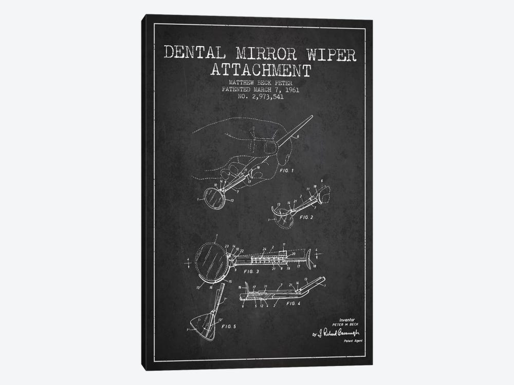 Dental Mirror Charcoal Patent Blueprint by Aged Pixel 1-piece Canvas Wall Art