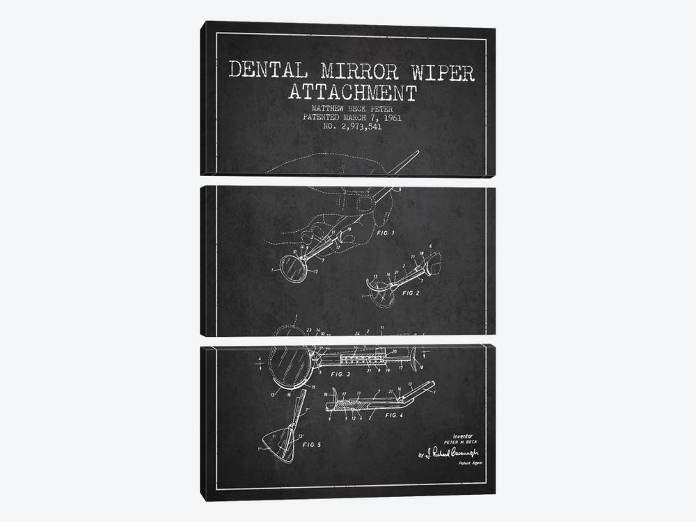 Dental Mirror Charcoal Patent Blueprint by Aged Pixel 3-piece Canvas Art