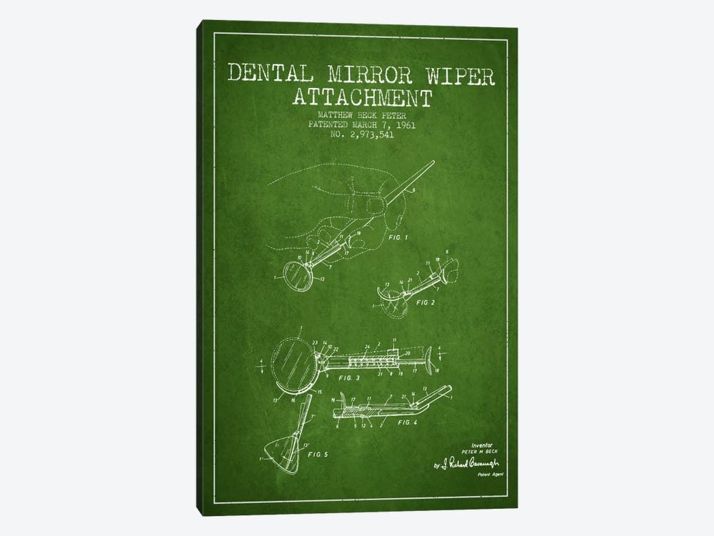 Dental Mirror Green Patent Blueprint by Aged Pixel 1-piece Canvas Art Print