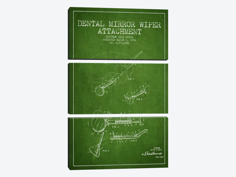 Dental Mirror Green Patent Blueprint by Aged Pixel 3-piece Art Print