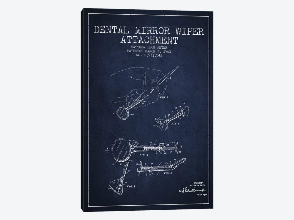 Dental Mirror Navy Blue Patent Blueprint by Aged Pixel 1-piece Canvas Wall Art