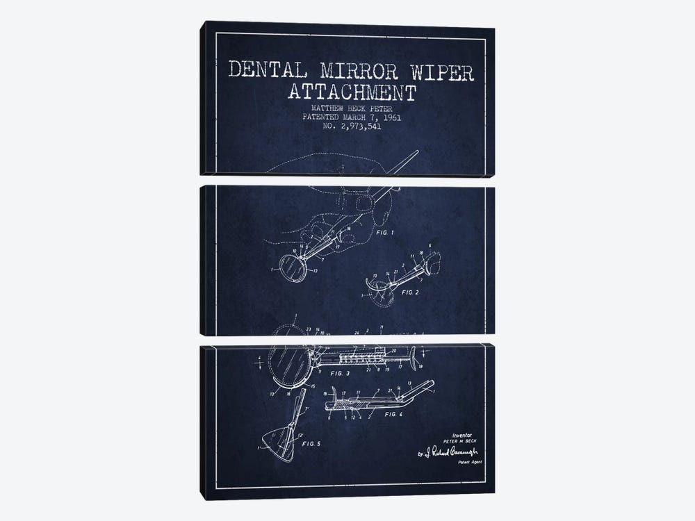 Dental Mirror Navy Blue Patent Blueprint by Aged Pixel 3-piece Canvas Artwork