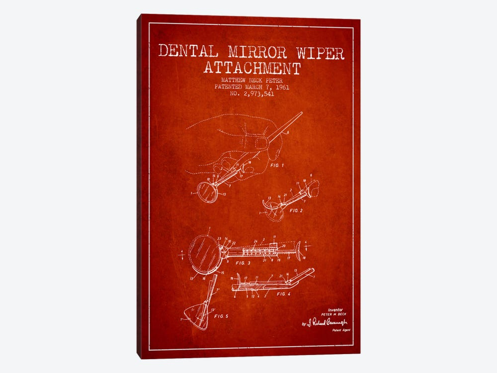 Dental Mirror Red Patent Blueprint 1-piece Canvas Art Print