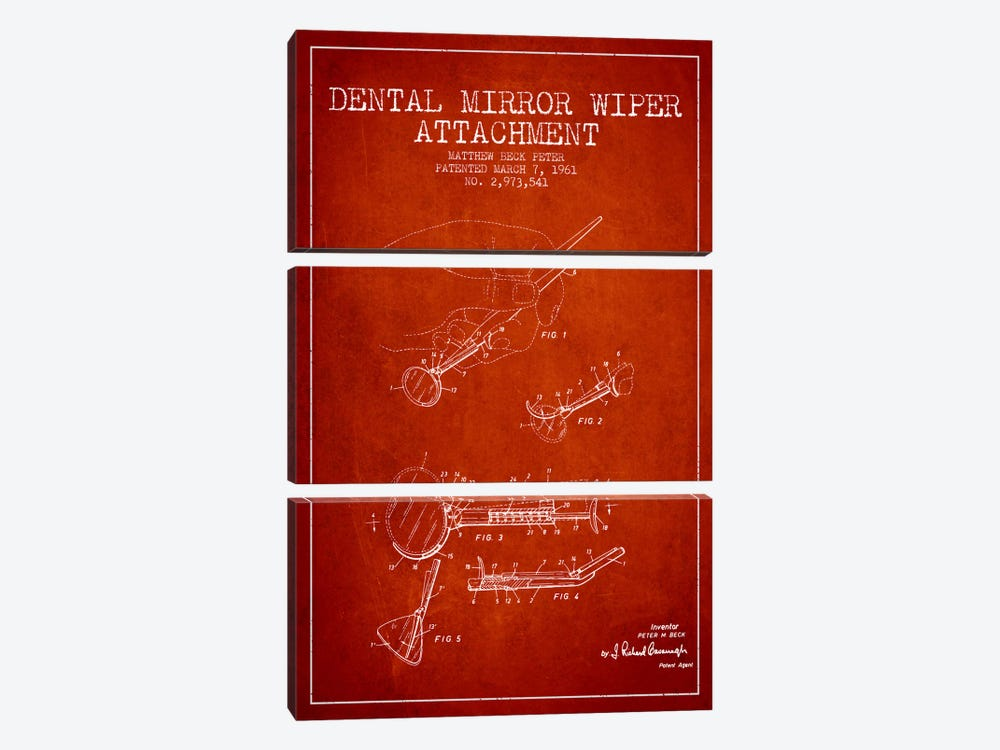Dental Mirror Red Patent Blueprint 3-piece Canvas Print