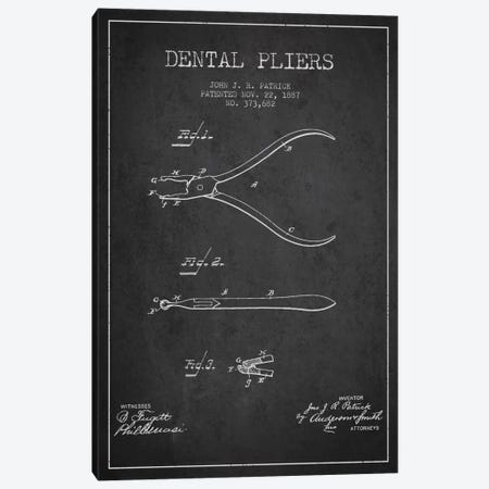 Dental Pliers Charcoal Patent Blueprint Canvas Print #ADP1779} by Aged Pixel Canvas Artwork